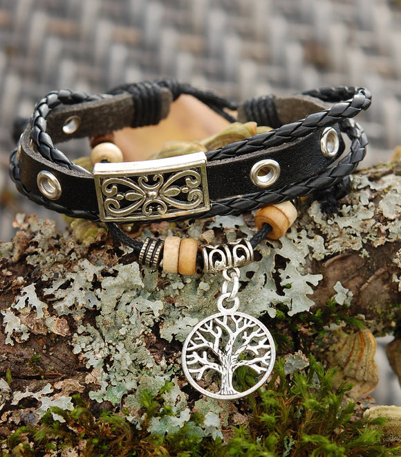 Black Leather Bracelet with Tree of Life