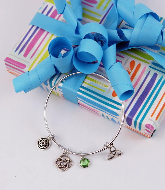 Birthstone Crystal and Celtic Knot Adjustable Bracelet