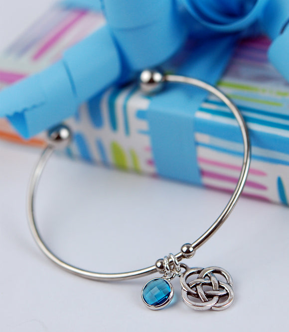 Birthstone Crystal and Celtic Knot Cuff Bracelet