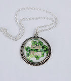 """Irish Mom"" with Shamrocks in Beaded Bezel Pendant"