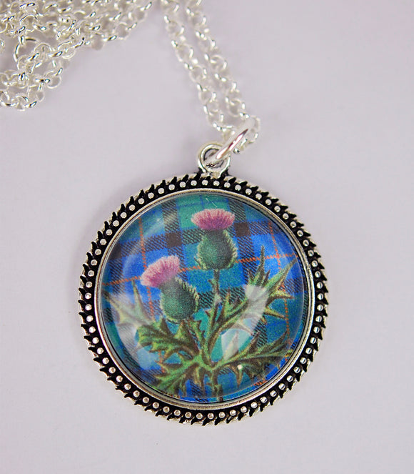Scottish Thistle in Beaded Pendant