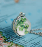 Glass Globe with Ireland Map and Shamrocks Pendant