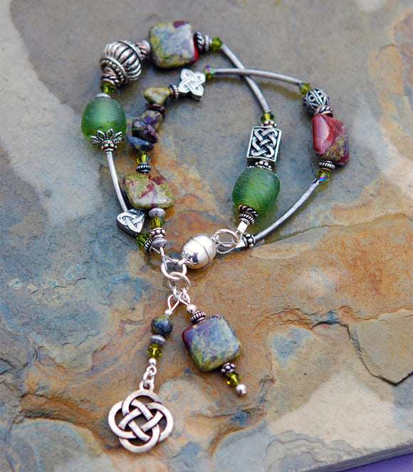 Cliodna Double-strand Dragon Blood Jasper Bracelet