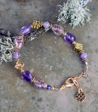 Gold and Amethyst Gemstone Bracelet
