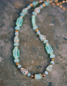Soft Teal Chalcedony Gemstone and Celtic Spiral Necklace