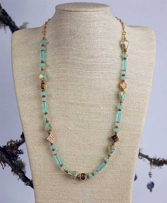 Soft Teal Chalcedony Gemstone with Celtic Knot Beads Necklace