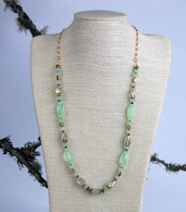 Soft Teal Chalcedony Gemstone with Necklace