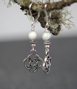 Howlite with Celtic Lughs Knot Earrings