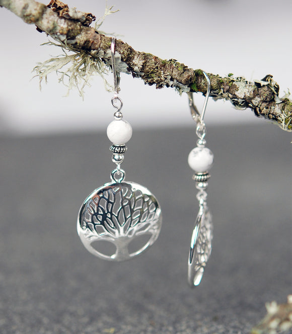Howlite with Tree of Life Earrings