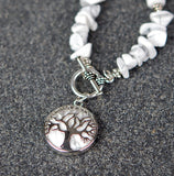 Howlite Gemstone Necklace with Tree of Life Drop