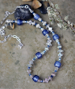 Necklace with Lampwork Beads and Sapphire Gemstones