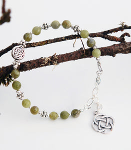 Connemara Marble Beaded Irish Bracelet with Celtic Knot