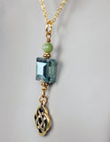 Connemara Marble and Square Crystal Pendant