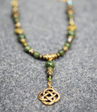 Diamond Celtic Knot and Connemara Marble Necklace