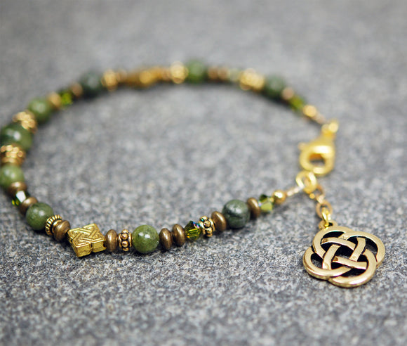 Diamond Celtic Knot and Connemara Marble Bracelet