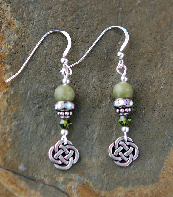 Connemara Marble Round Celtic Knot Earrings with Rhinestones