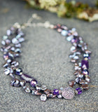 Double-strand Lavender Freshwater Pearls and Amethyst Gemstones