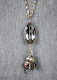 Dove Grey Oval Crystal Long Pendant