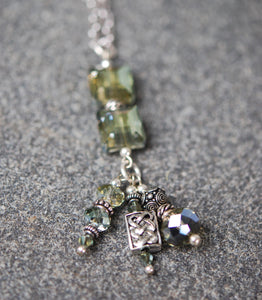 Double stacked Dove Grey Square Crystal Pendant