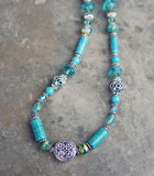 Turquoise and Magnesite Necklace with Celtic Knot