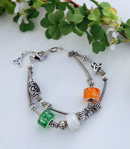 Tricolors of Ireland Double Bracelet with Claddagh