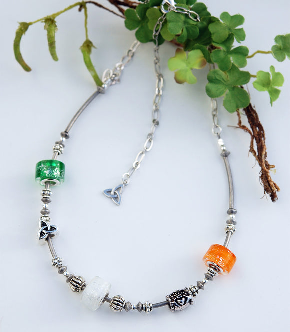 Tricolors of Ireland Necklace with Claddagh