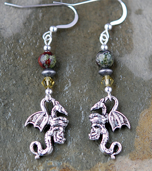Celtic Dragon Blood Jasper with Dragon Earrings