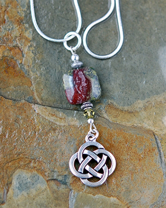 Celtic Dragon Blood Jasper Pendant with Knot