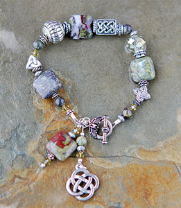 Celtic Dragons Jasper Bracelet with Celtic Knot