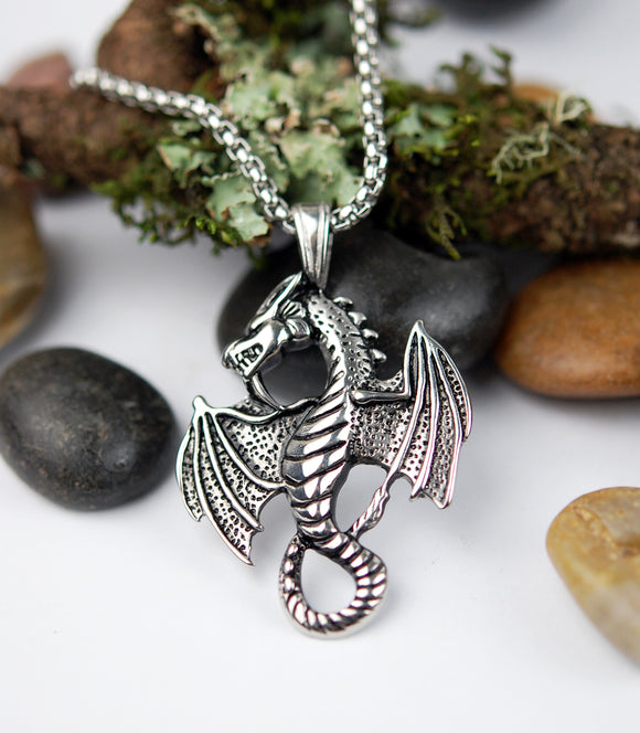 Stainless Steel Celtic Dragon Pendant