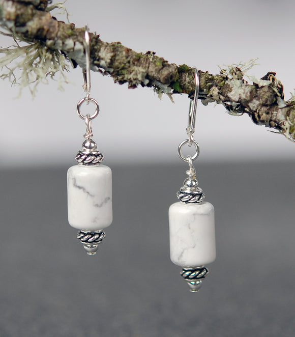 Howlite Barrel Bead Earrings
