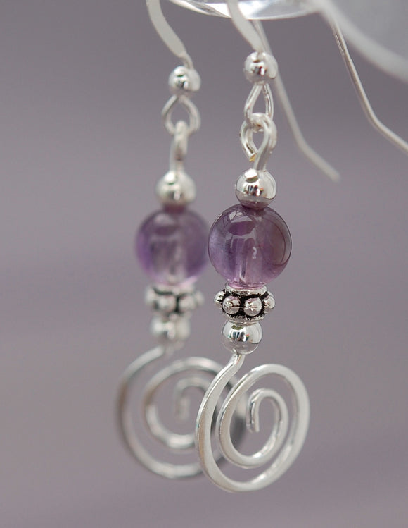 Amethyst with Celtic Spiral Earrings