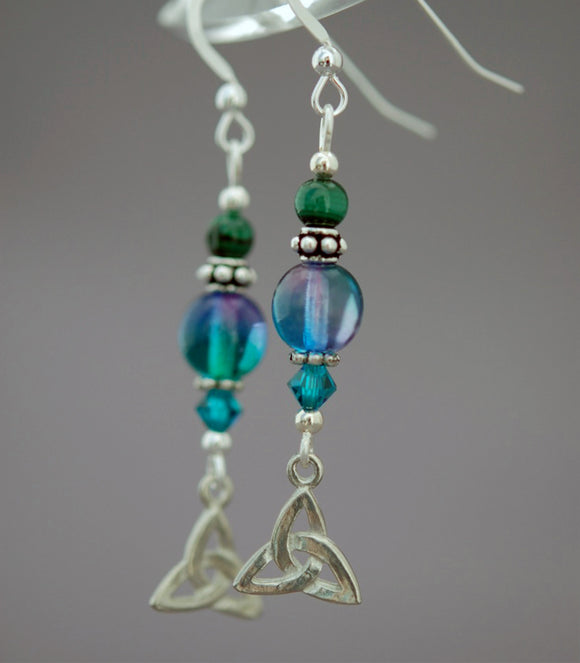 Mystic Waters Celtic Earrings with Malachite