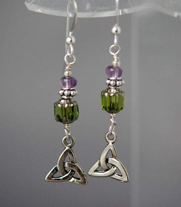 Lavender Twilight Celtic Earrings with Amethyst