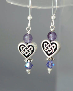 GS380 Amethyst with Celtic Heart Knot Earrings