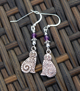 Celtic Cat Earrings with Amethyst