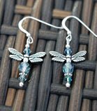 Soft Green and Teal Celtic Dragonfly Earrings