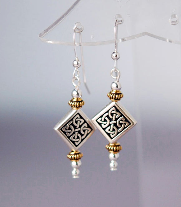 Two-Tone Celtic Diamond Earrings
