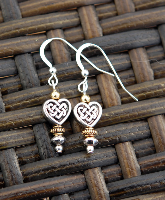 Two-Tone Celtic Heart Knot Earrings