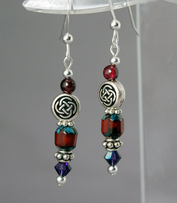 Kindred Spirits Celtic Earrings with Garnet