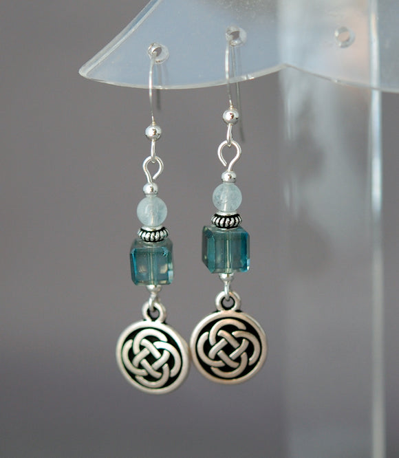 Spirit Journey Celtic Earrings with Aquamarine