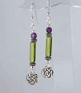 Green Column Celtic Earrings with Amethyst