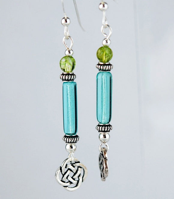 Sea Columns Celtic Earrings with Peridot