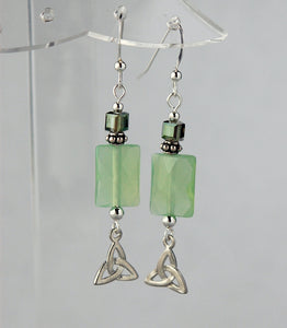 Fairy Mirror Celtic Earrings with Chalcedony
