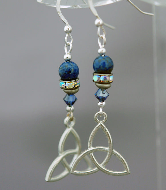 Celtic Trinity Knot Earrings with Rhinestones and Lapis Lazuli
