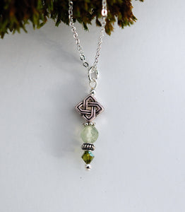 GS 497 Diamond Celtic Knot and Prehnite Pendant