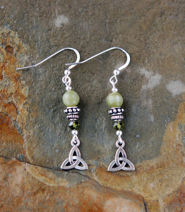 GS507 Celtic Trinity Knot with Connemara Marble Earrings