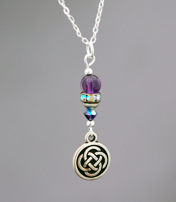 GS511 Amethyst with Rhinestone and Celtic Knot Pendant
