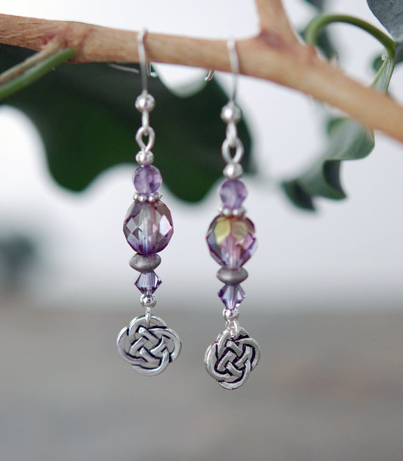 Lavender and Soft Rose Crystals with Celtic Knot