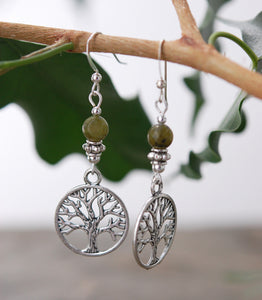 GS527 Celtic Tree of Life with Connemara Marble Earrings